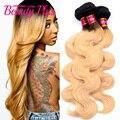 7A peruano ombre dois tons onda do corpo do cabelo virgem 1b #27 feixes de tecer cabelo humano 10-30 polegada loira ombre feixes loiro mel