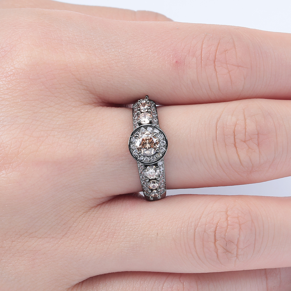 champagne stone vintage black gun promise Rings fashion jewelry gift ...