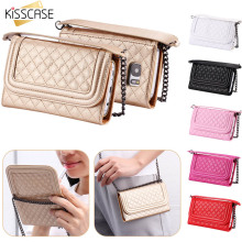 Get more info on the KISSCASE Card Slot Wallet Phone Bag For Samsung Galaxy S7 S7 Edge Metal Chain Mirror Case For iPhone 6 6s Plus PU Leather Bag