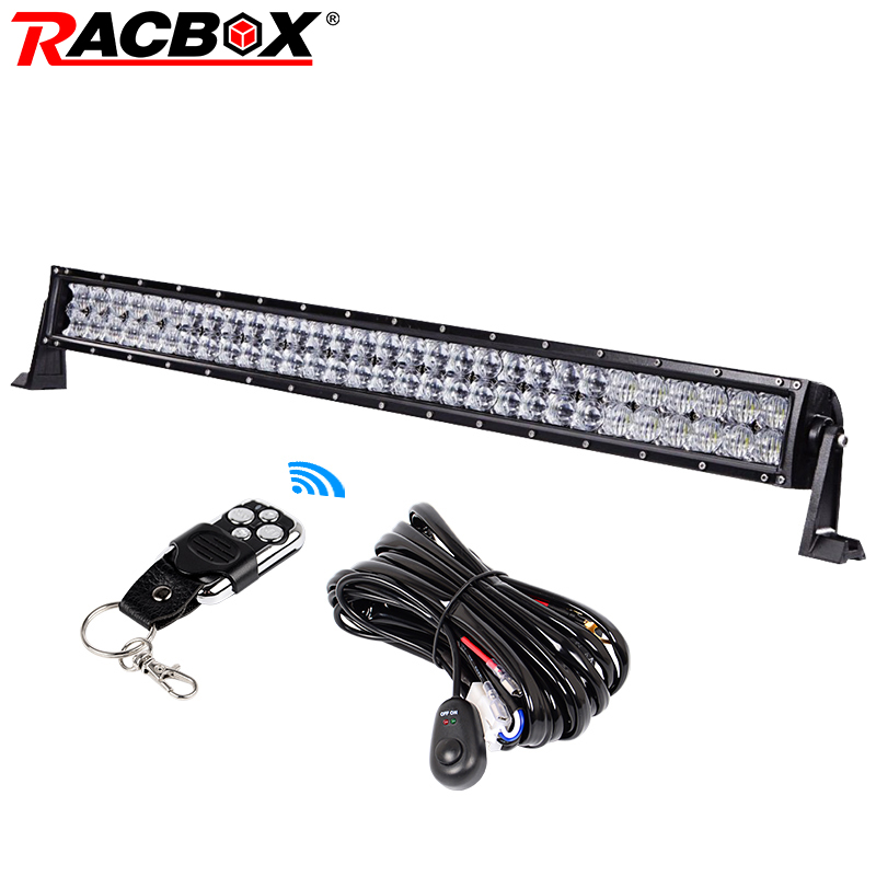 RACBOX 5D 32 inch 300w Straight LED Light Bar Spot Flood Combo Beam LED Work Light For Offroad Truck SUV UAZ ATV 4x4 Automobile