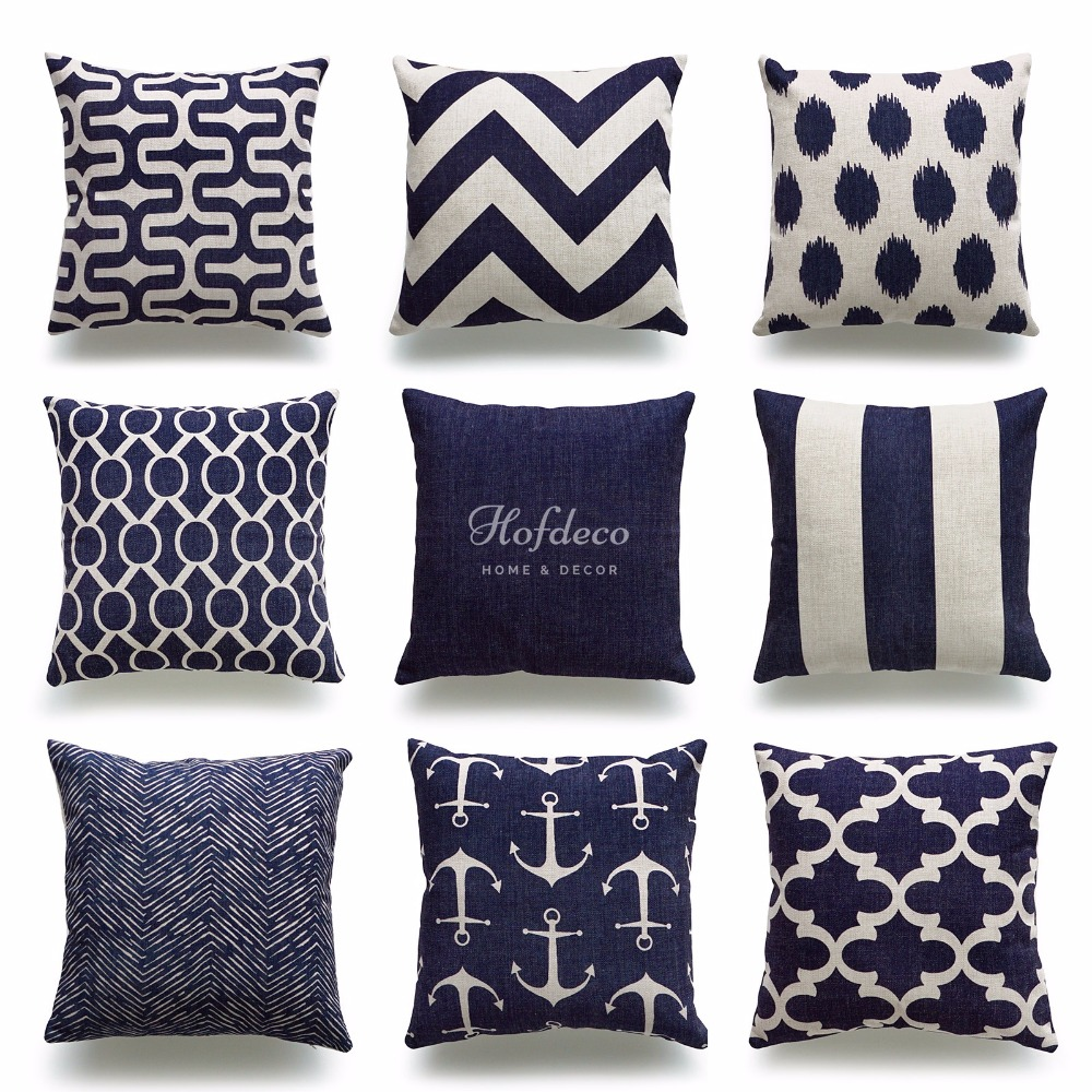Decorative Throw Pillow Case Geometric Navy Blue Nautical