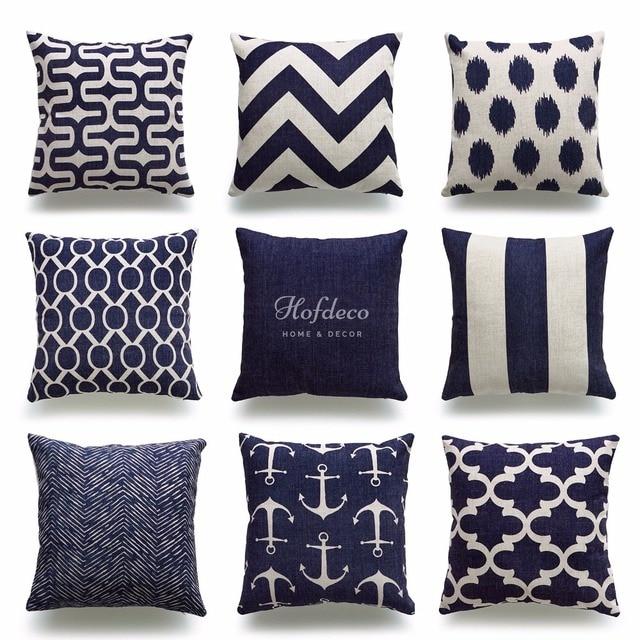 Decorative Throw Pillow Case Geometric Navy Blue Nautical Ocean Coastal Sea Cotton Linen Heavy Weight Fabric