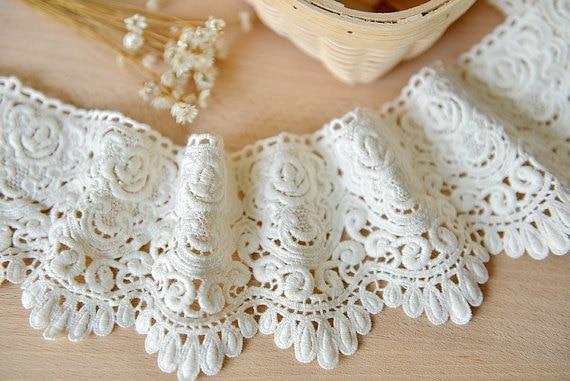 Cotton Lace Trim Vintage Crocheted Trim Lace Scalloped Antique
