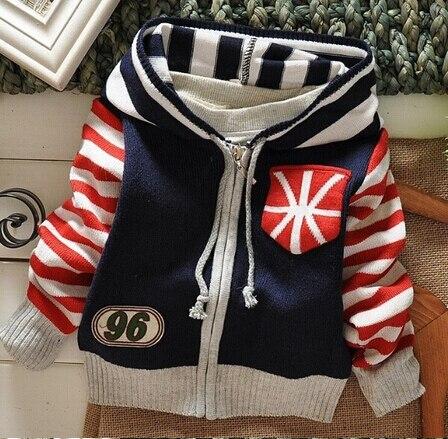 Новые малыши осень/зима одежда Дети случайные свитер моды полосатые свитера мальчика кардиганы