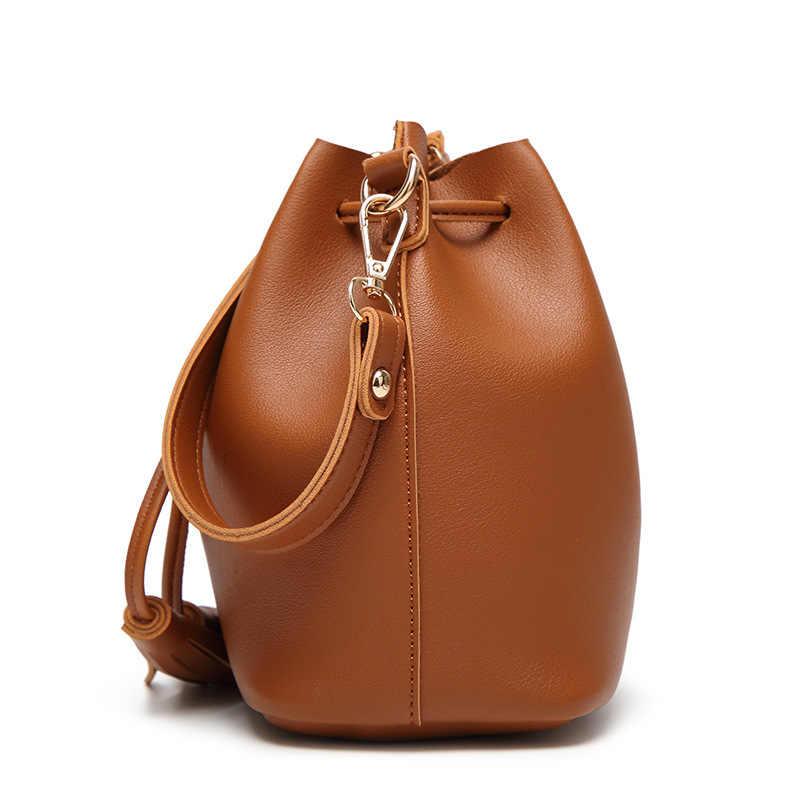 Sendefn Wanita Kulit PU Tas Ember Tas Bahu Wanita Tas Selempang Kapasitas Besar dengan Pu Tassles Kasual Tas Belanja