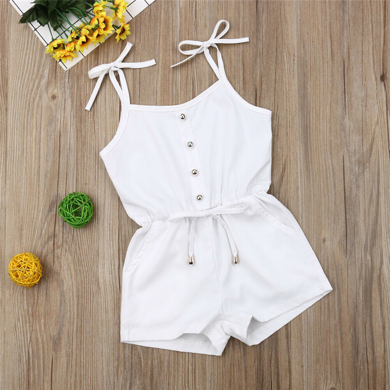 Cotton Baby Girl Clothes Summer New Single Breasted Kids Lace-Up   Romper   Jumpsuit Fashion White Playsuit For Newborn 0-3T