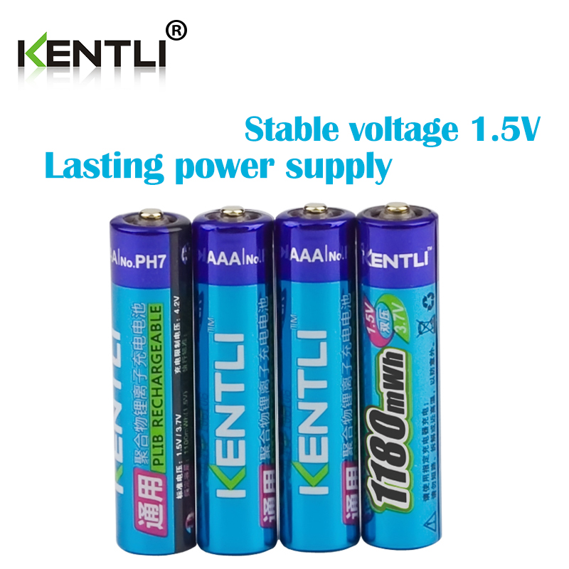 KENTLI 4pcs no memory effect 1.5v 1180mWh AAA lithium li-ion rechargeable batteries battery no 1 rechargeable battery rechargeable battery battery no 1 battery d rechargeable li ion cell