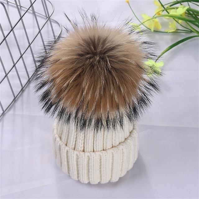 Das mulheres Chapéus de 15 cm Grande Bola de Pêlo Pompom de Pele De Raposa Naturais Fivela Chapéu Feito Malha Inverno Quente Gorros De Lã Para As Mulheres filhos adultos