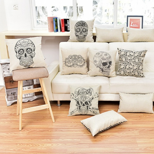 Modern Graffiti Funky Skull Sofa Throw Cushion Case Sketch Fl Print Alternative Home Decorative