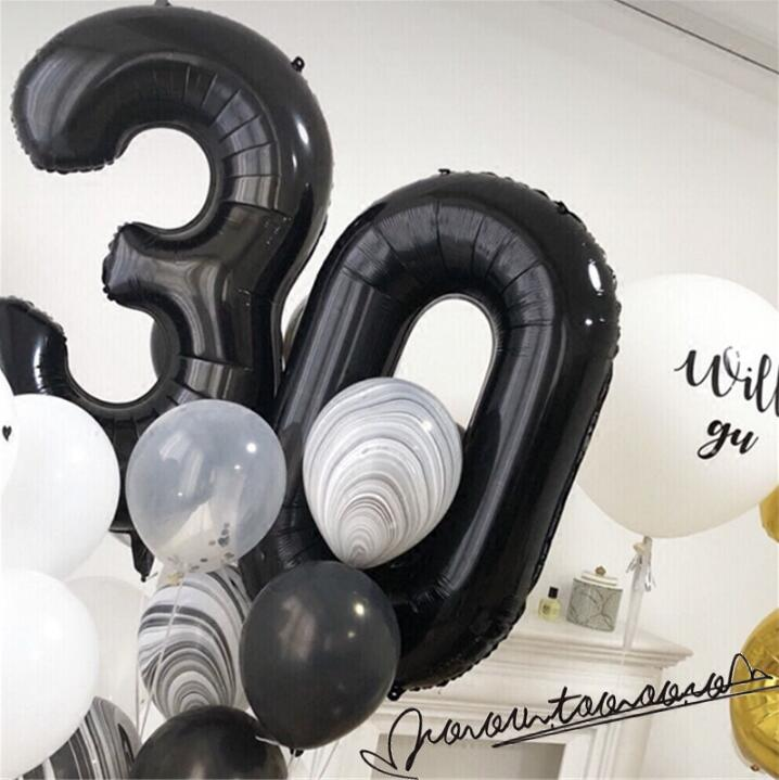 2pcs 40inch Metallic Foil Number Digit Balloons 30 40 50 Year Old Birthday Party Decor Helium inflatable Globos Slim Number ball