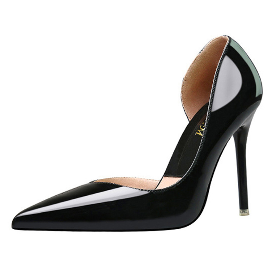 Patente Moda Bombas Zapatos bronze 2 Femenina Recortes Oficina oro Lado Concisas Estrecha Mujeres Tacones Caliente De Para black 2018 1 plata Black Cuero Punta I6Opxwznq