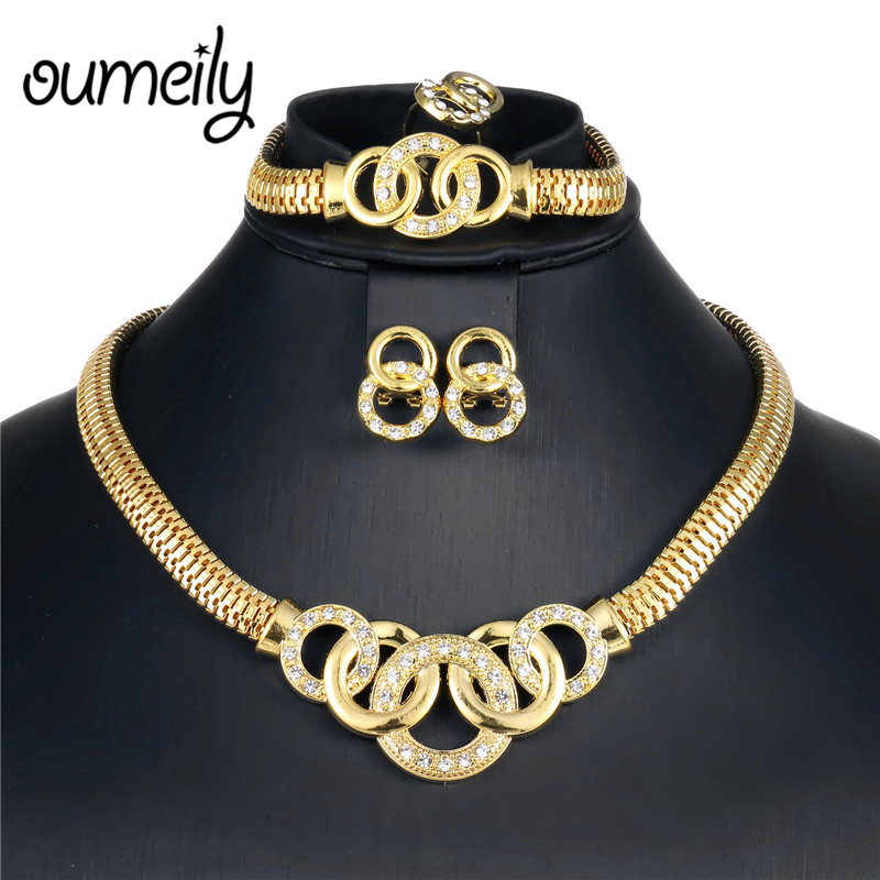 OUMEILY 2018 African Jewelry Set Dubai Gold Silver Jewelry Sets For Women Round Wedding Jewellery Set Bridal Costume Jewelery