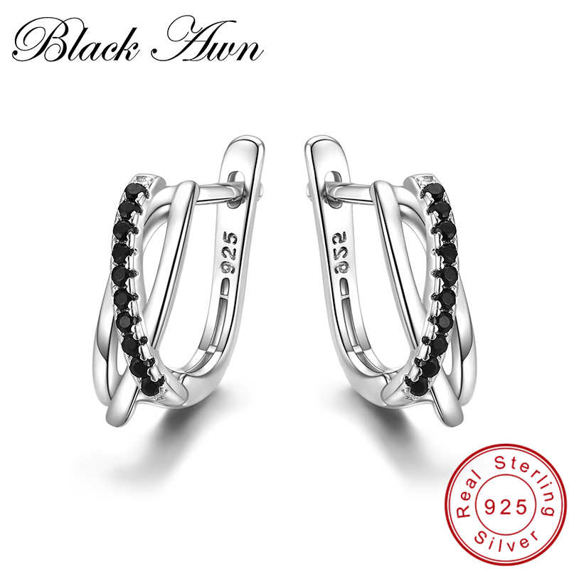 [BLACK AWN] Genuine 925 Sterling Silver Earrings Hoop Earrings for Women Black Spinel Silver 925 Jewelry I023