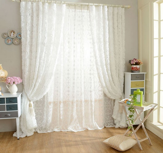 SunnyRain 1-Piece ורד בצורת וילון טול לבן עבור - טקסטיל בית