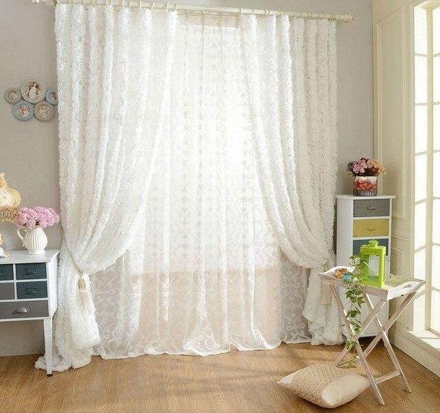 SunnyRain 1 Teilig Rose Geformt Weiss Tll Vorhang Fr Schlafzimmer Wohnzimmer Gardinen Luxus Vorhnge
