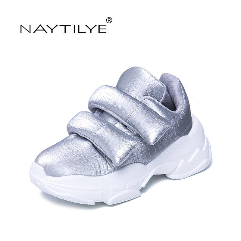 NAYTILYE 2019 New Women's Shoes Casual Round Toe Platform Fashion Spring/Autumn woman shoes Color Silver Black Size 35-40
