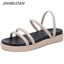 JIANBUDAN Summer women's casual sandals Flat comfortable female beach shoes Non-slip outdoor sandals Black beige size 35-40 mother sandals soft leather large size flat sandals summer casual comfortable non slip in the elderly women s shoes 35 40 41