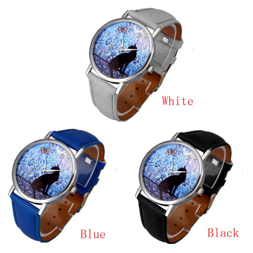 Women Watch Relogio Feminino Saat Clock Hot  High Quality Cat Pattern Leather Band Analog Quartz Vogue Quartz Wrist Hour2017 newly design dress ladies watches women leather analog clock women hour quartz wrist watch montre femme saat erkekler hot sale