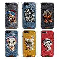 Sevimli Köpek ve Kedi El Yapımı Nakış Denim Shell Kılıf iphone 7 Artı/8 Artı 5.5