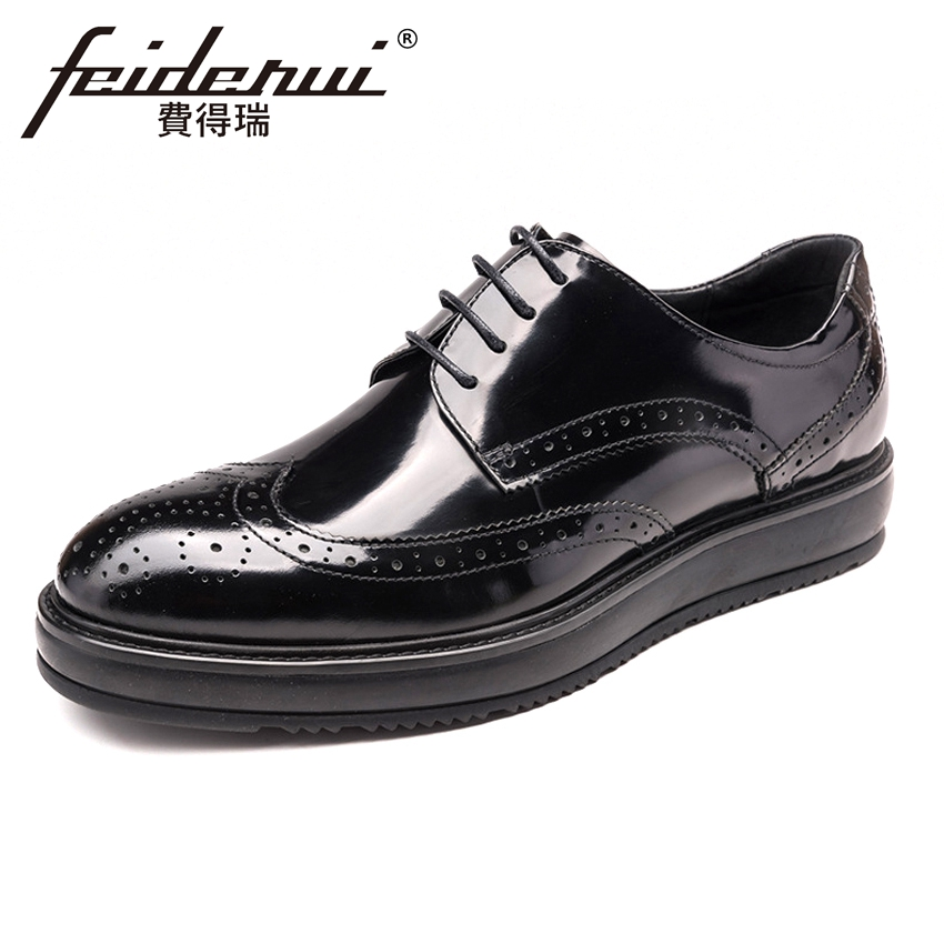 British Style Patent Leather Men's Wingtip Carved Oxfords Round Toe Derby Flat Platform Man Formal Dress Brogue Shoes YMX218
