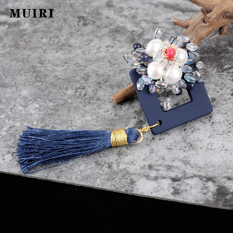 Chinese Style Tassel Safety Women Scarf Pins Bronze Beads Blue Crystal Ethnic Brooches Broche Mujer Female Broches New Gifts