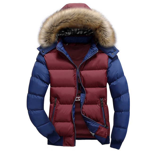 2017 New Down Jacket Men Hooded Fashion Casual Thicken Cotton Coats Winter Fur Hooded Patchwork Outwear Slim Men Down & Parkas