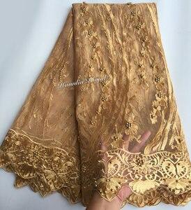 Image 3 - Nero Fucsia bella guipure delimitato Francese del merletto cucito tessuto di tulle maglia Africano del merletto con un sacco di perline 5 metri di buona la scelta