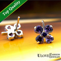 Sunshine Clover Heart Flower Leaves Genuine 925 Sterling Silver Purple/White Stone Stud Earrings Wedding Engagement Girls E089