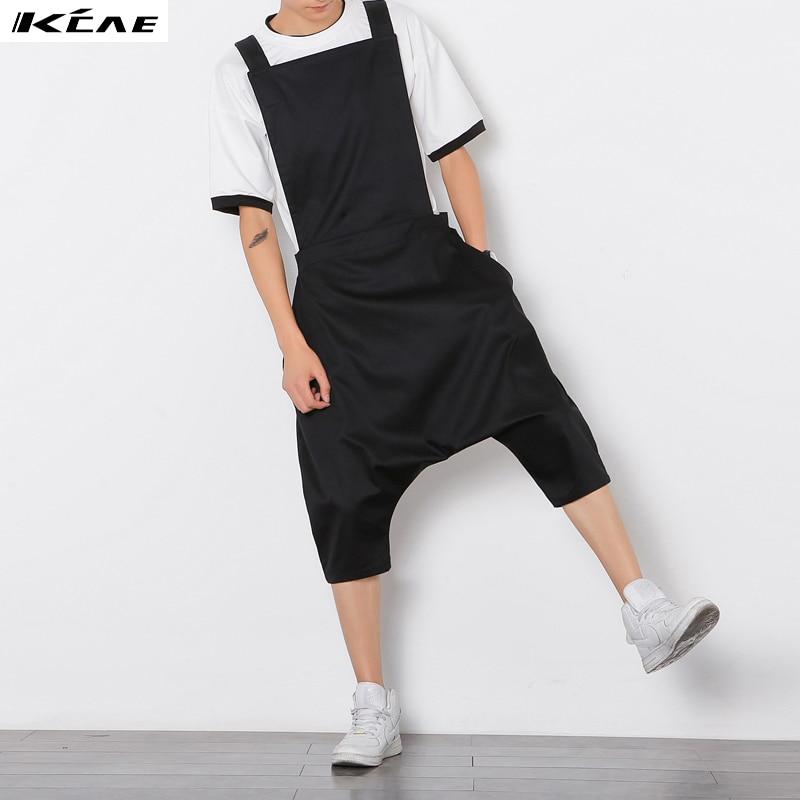 Plus Size M-XL Mens Jumpsuit Fashion Male Bib Pants Overalls Casual Loose Harem Pants Hip-Hop Low Crotch Trousers Black Jumpsuit mens sports pants bloomers black size xl