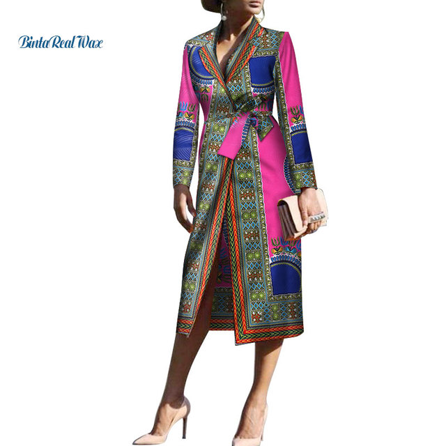 5a6fa759d27 New Dashiki Women African Clothes Print Long Coat with Waistbelt Bazin  Riche Traditional Plus Size African Women Clothing WY3470