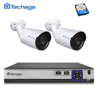 Techage 4CH 4MP NVR Kit H 265 POE CCTV System 2PCS 4MP IP Camera IR Night
