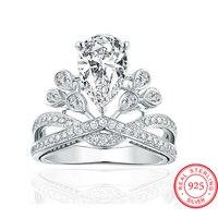 Hot Sale Fashion Luxury Women Engagement Jewelry 925 Sterling Silver Crown Crystal Zircon Female Wedding Finger