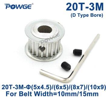 Polea De distribución POWGE de 20 dientes HTD 3M tipo D diámetro interior 5x4. 5/6x 5/8x 7/10x9mm para cinturón síncrono de 10/15mm 3M HTD3M 20 dientes 20 T