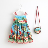 Toddler Dress With Bag 2017 Brand Flower Print Robe Fille Girls Clothes Vestido Daminha Casamento Kids