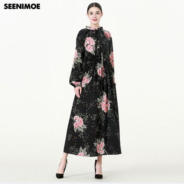 bffe818317b7f 2018 M 7XL New Women Spring Summer Plus Size Dress Long Sleeve Floral Print  Casual Elegant Maxi Dress Boho Muslim Long Dress-in Dresses from Women's ...