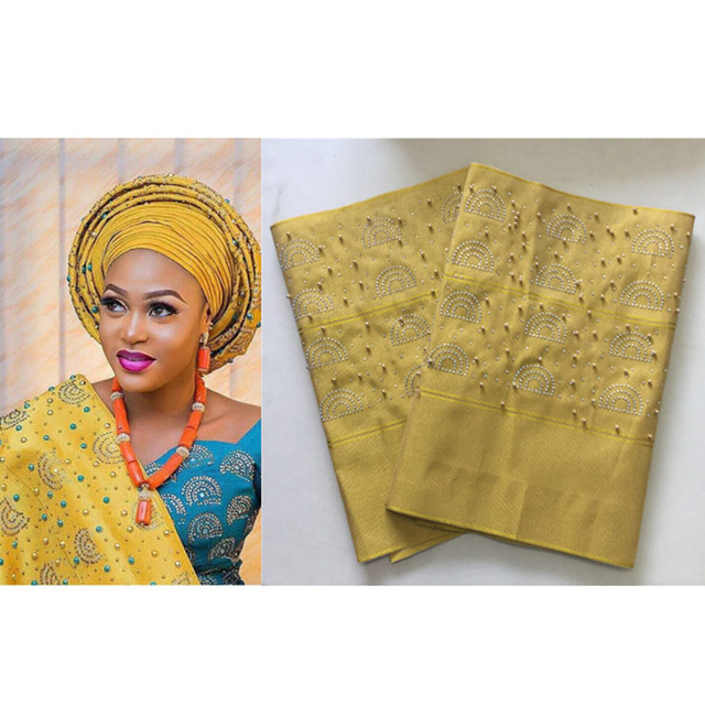 African Aso Oke Gele Headtie Nigeria Wrapper Scarf with Stones Beads Head  Tie for Party Gold African Headtie 2pieces bag 30 7274d3f2855