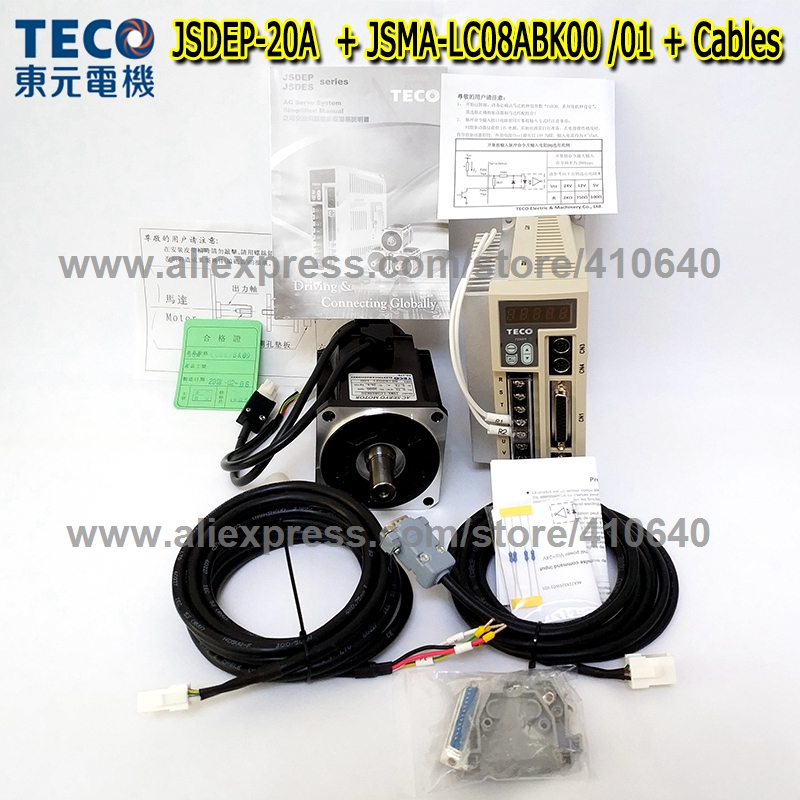 Genuine TECO 750W Servo <font><b>Motor</b></font> JSMA-LC08ABK01 or 00 And Servo <font><b>Motor</b></font> Drive JSDEP-20A with Cables MORE RELIABLE QUALITY AND SERVICE image