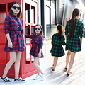 2016 Family Matching Plaid Mother Daughter Dress Mom and Daughter Dresses Clothes Family Set Parent-Child Family Clothing GM1