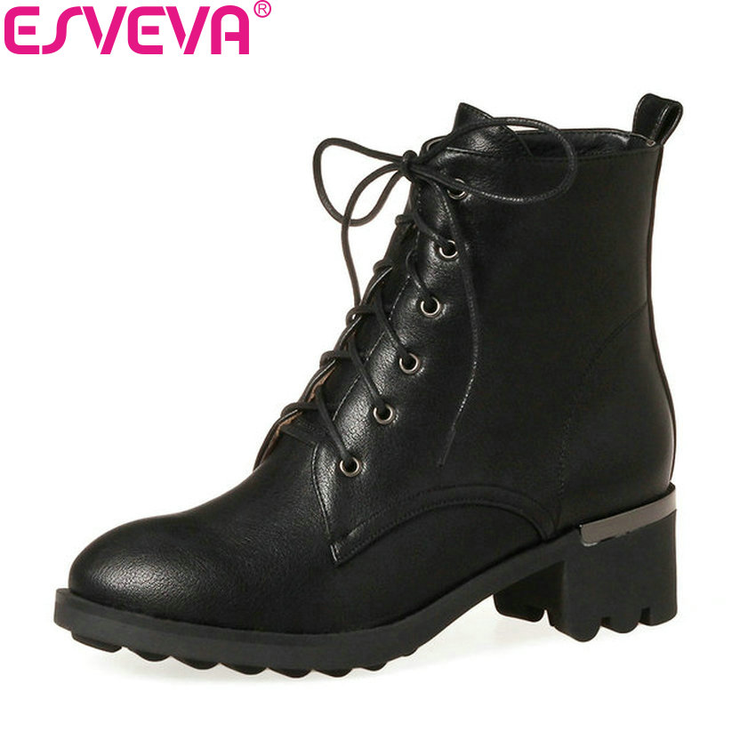 ESVEVA 2018 Classic Women Boots Autumn Western Style Shoes Square Med Heel Lace Up Ankle Boots Round Toe Ladies Boots Size 34-43 недорго, оригинальная цена