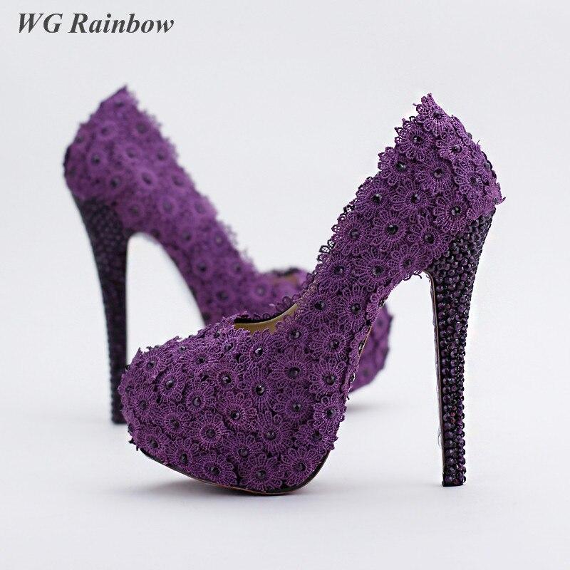 Purple Lace Heels Promotion-Shop for Promotional Purple Lace Heels ...