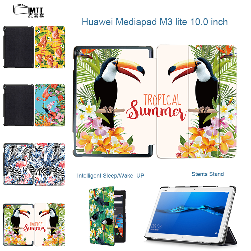 MTT Print Flamingo Case for Tablet 10.1'' Huawei MediaPad M3 Lite 10 PU Leather Cover Shell Auto Wake/Sleep BAH-W09 BAH-AL00 smart ultra stand cover case for 2017 huawei mediapad m3 lite 10 tablet for bah w09 bah al00 10 tablet free gift