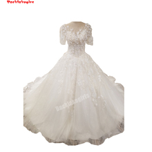 Backlakegirls Vintage Ball Gowns Wedding Dress Short Sleeve