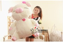 huge lovely pig doll cute smile plush pig toys birthday  gift about 110cm white and pink