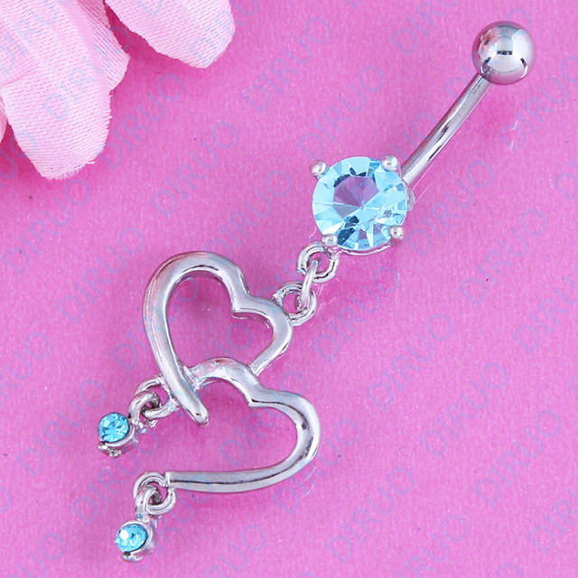 Double Heart Belly Ring Navel Bar Body Piercing Jewelery Retail Accessories 316l Surgical Steel