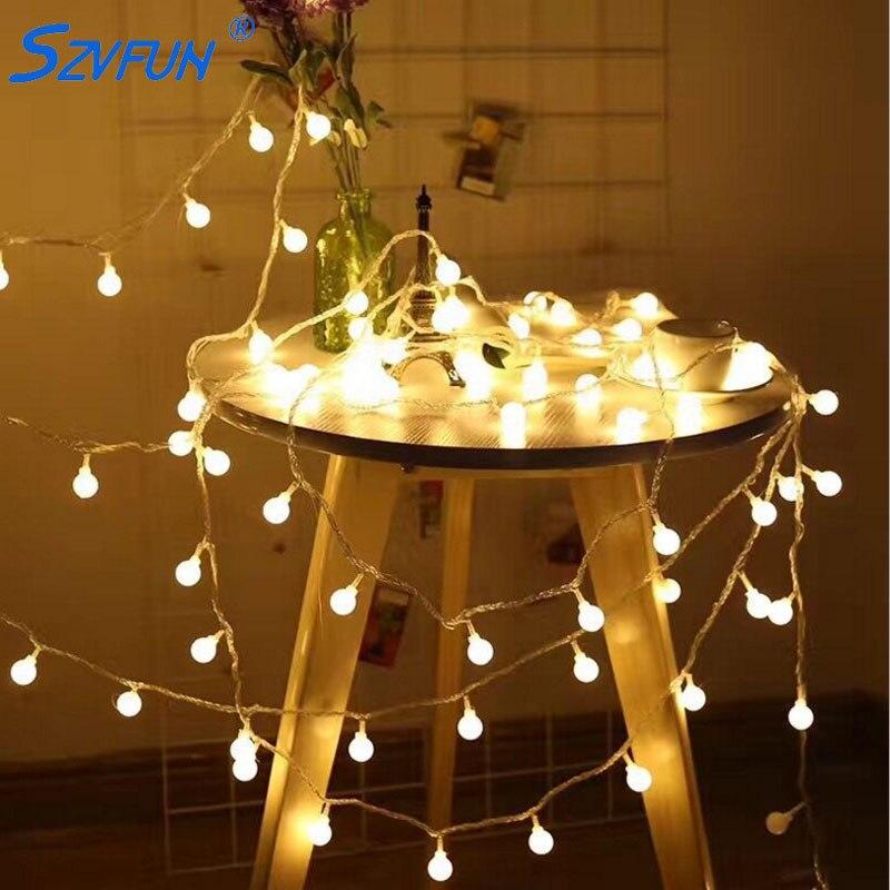 US $6 64 40% OFF|Szvfun Led Garland Balls Outdoor String Lights Battery 100  Festoon Light Bulbs Flash Warm white Guirlande Lumineuse Verlichting-in