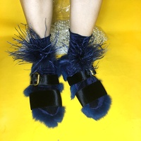 Limited Edition 1 Pair Blue Ostrich Hair Stardust Velvet Socks High Quality Vintage Japanese Autumn Winter