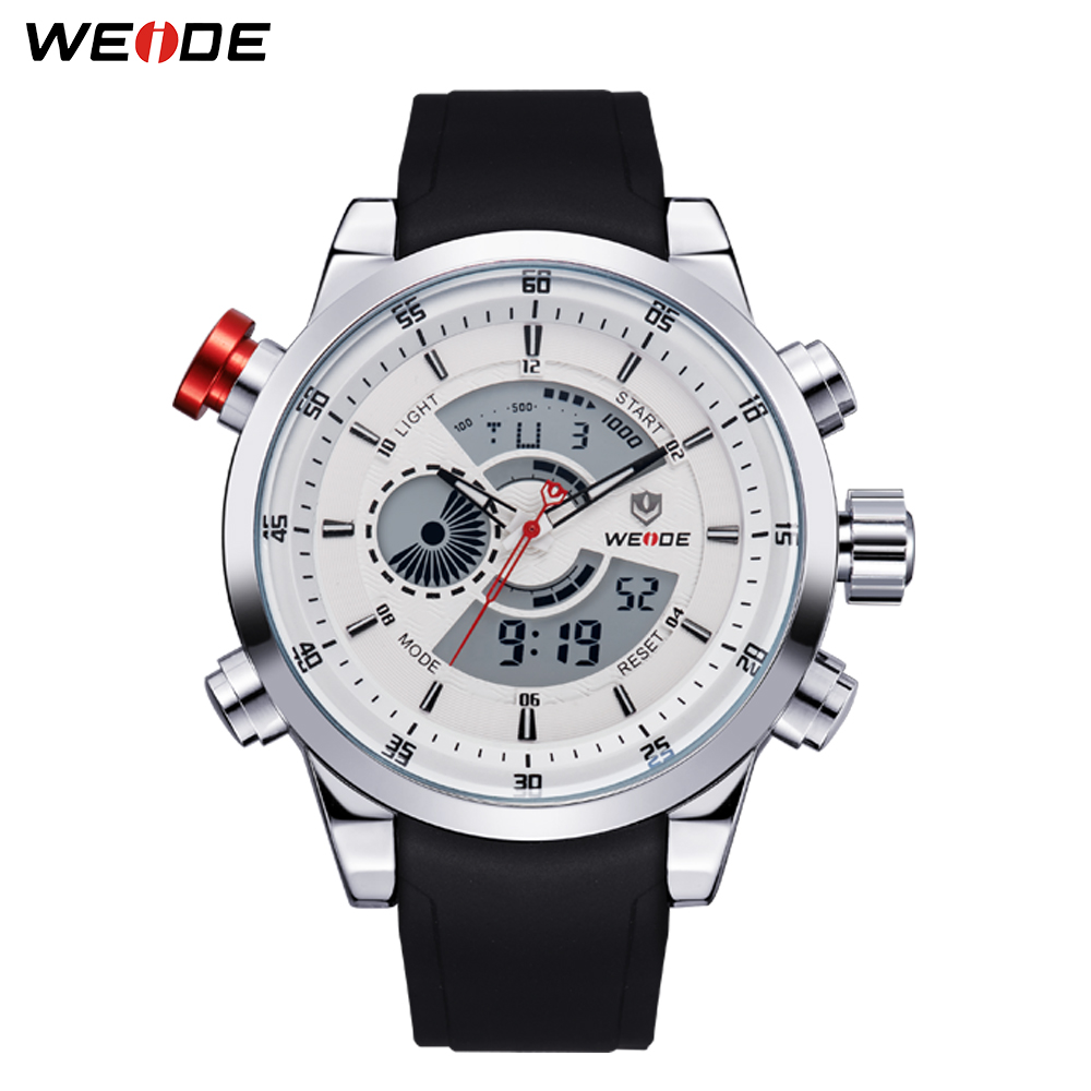 WEIDE Military Men Sports Stopwatch Black PU Strap Alarm Repeater Calendar Waterproof Quartz Clock Wristwatch Relogio Masculino