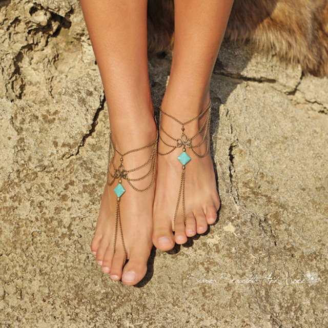 7a74275da77 Bohemian Ankle Bracelet Beach Wedding Foot Bracelet Gothic Jewelry Barefoot  Sandals Chain Fashion Summer