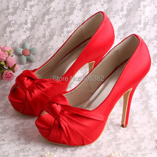 (20 Colors)Wedopus Custom Handmade 3CM Platform Heel Shoes for Women Party Red Satin Size 7