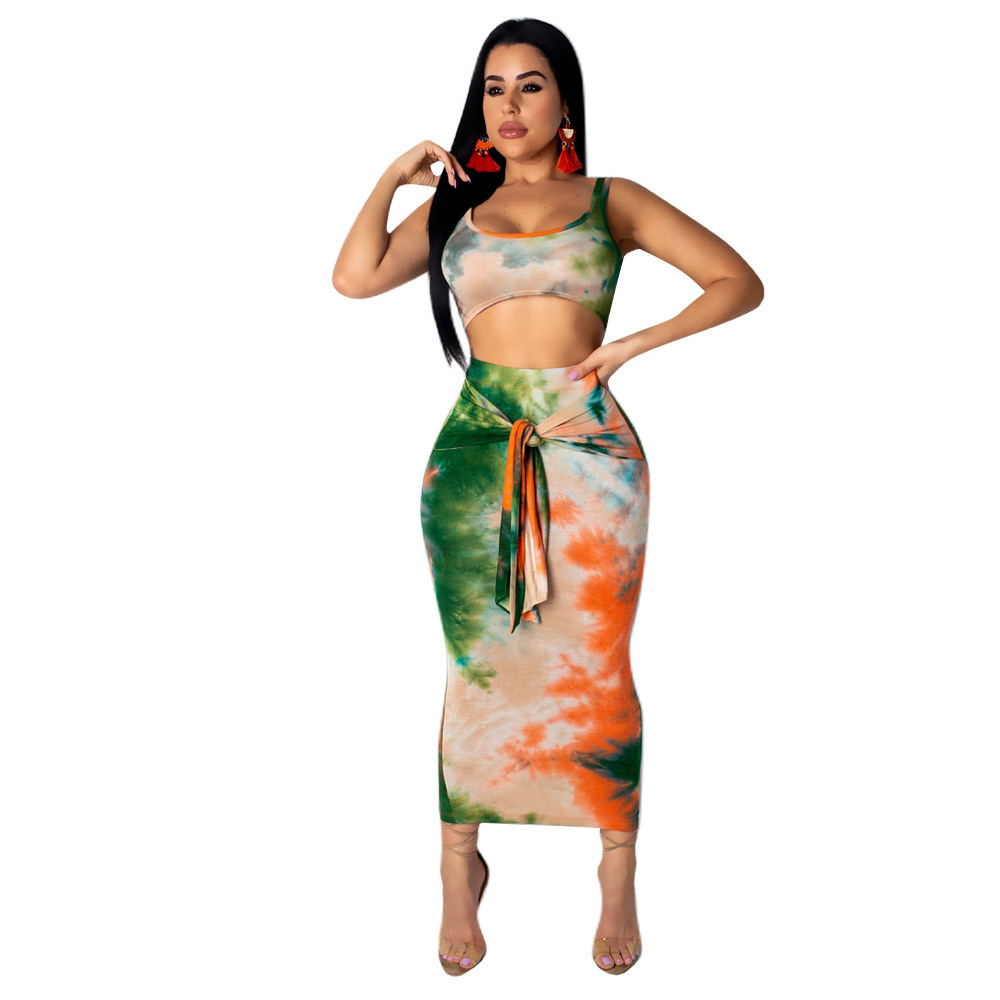 631dd5623cef Adogirl Sexy Lace Up Bandage Print Women Set Casual Tank Crop Top With Long  Skirts Bodycon